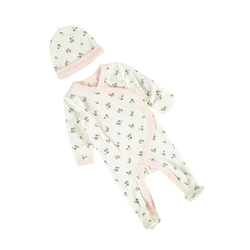 Baby Premium Organic Cotton Set With Light Pink Flowers