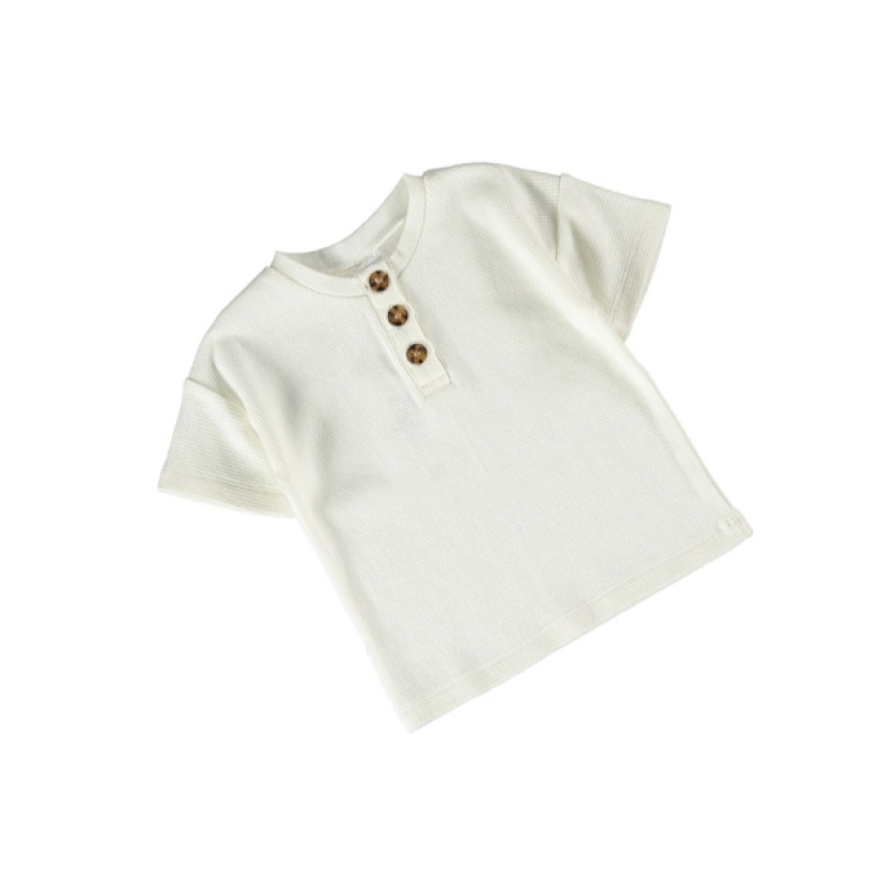 Baby Cotton Waffle Henry White T-Shirt