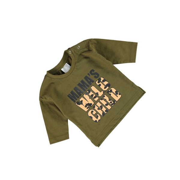Baby Long Sleeve Printed T-Shirt Khaki Dark Olive Color